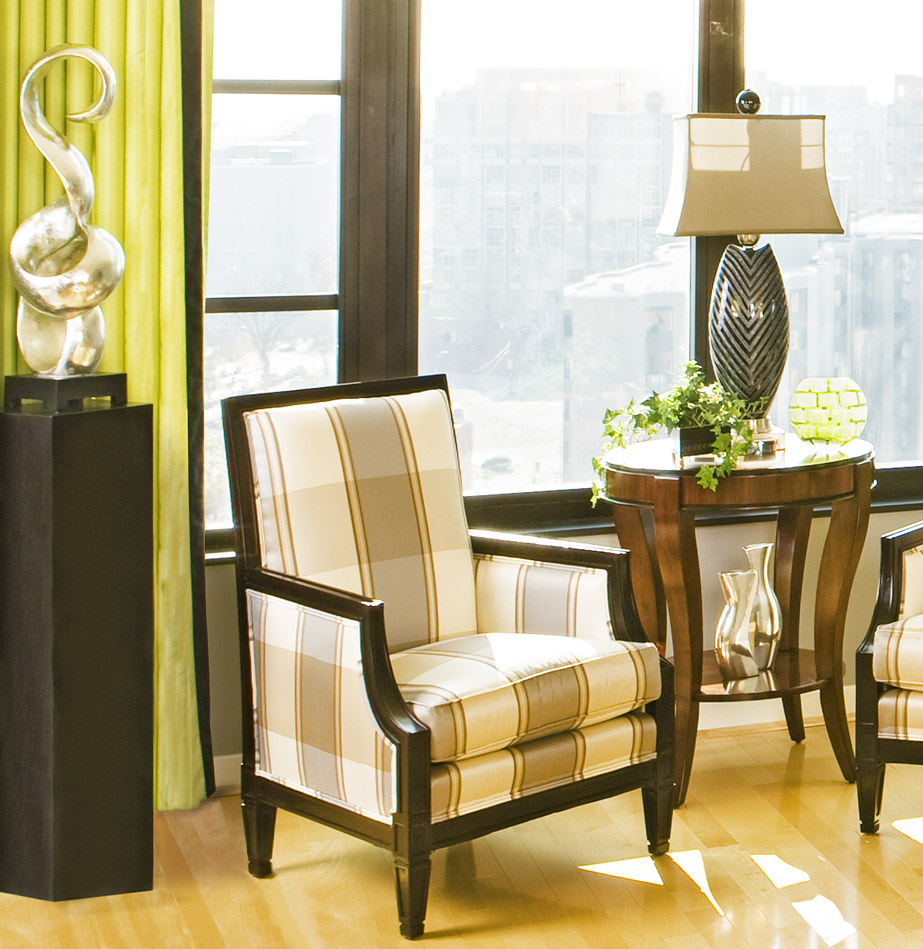 green living room armchair after 3 Green Interior Design Business