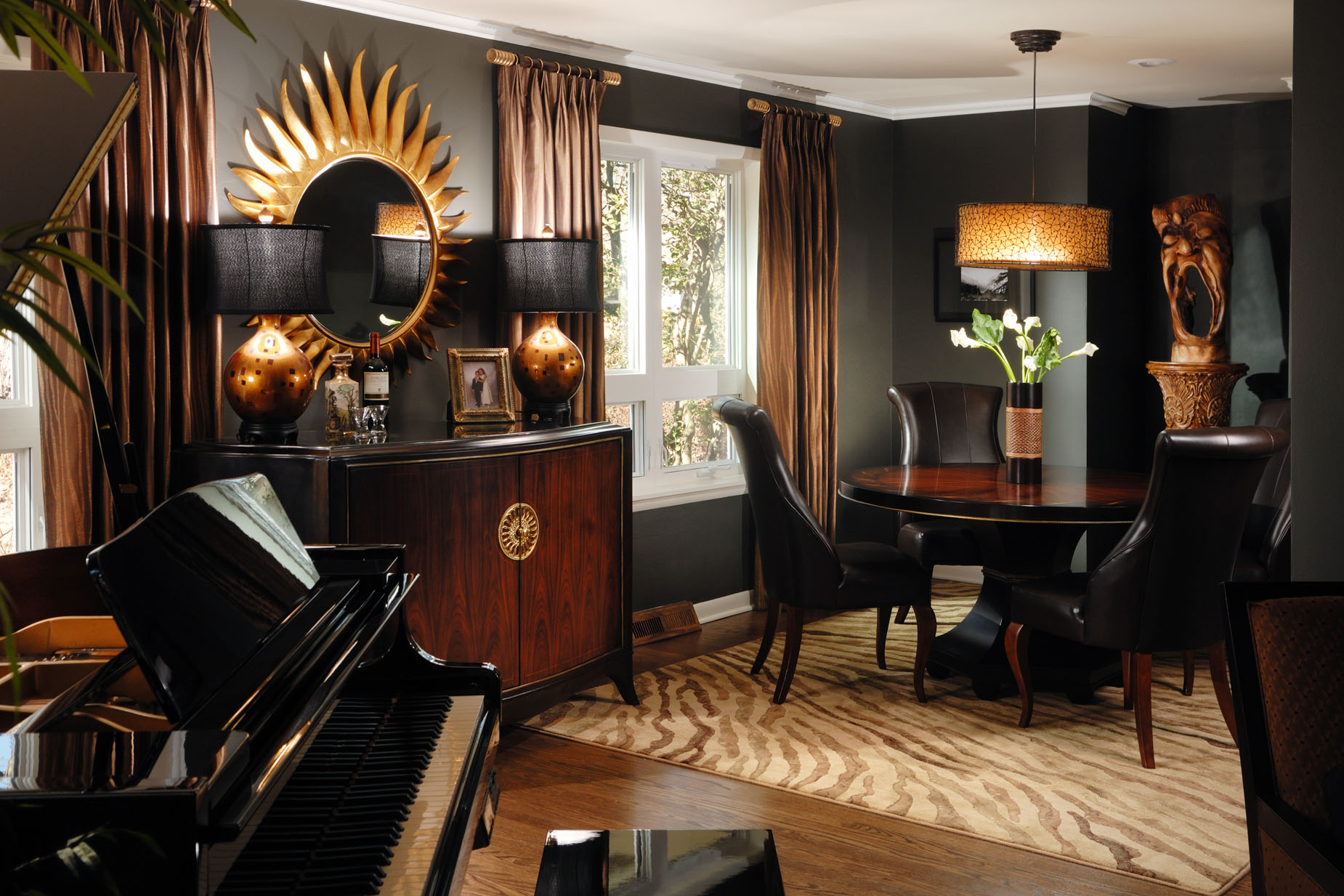 Brown gold and orange living room - Black Gray And Brown Interior Design