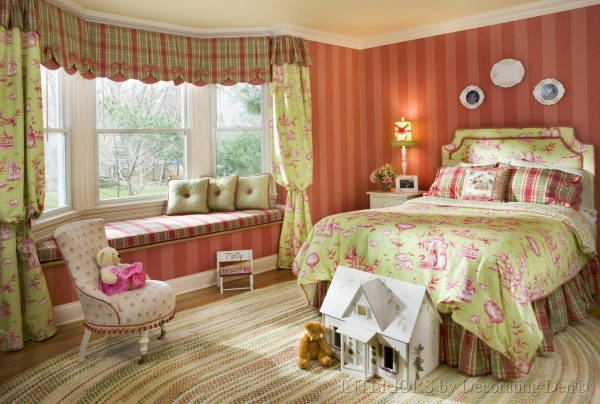 With custom coordinated fabrics, soft colors, and personal touches, this bedroom is perfect for a little girl.