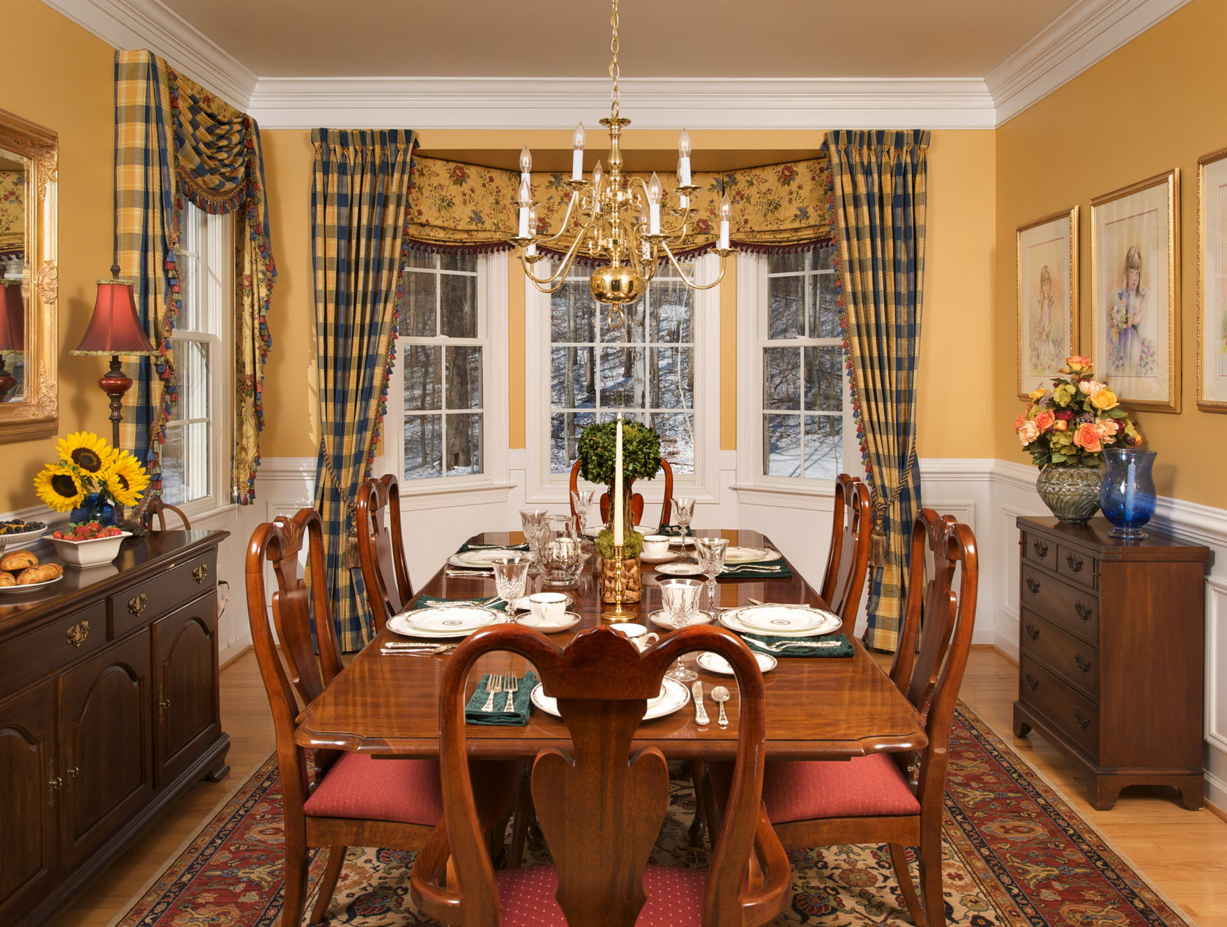 How to decorate bay windows see these ideas for custom for Dining room curtain ideas