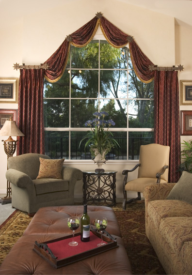 discover creative custom window treatments for arched. Black Bedroom Furniture Sets. Home Design Ideas