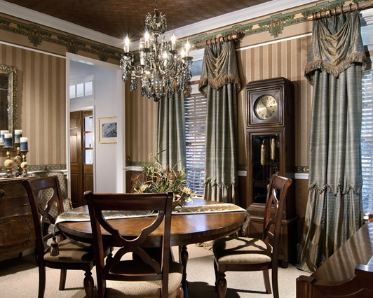 Custom window treatments give formal rooms the extra for Dining room window treatments