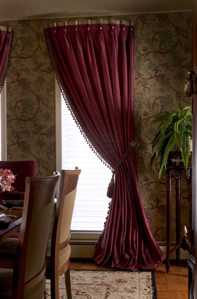 Custom window treatments give formal rooms the extra Luxury window treatments