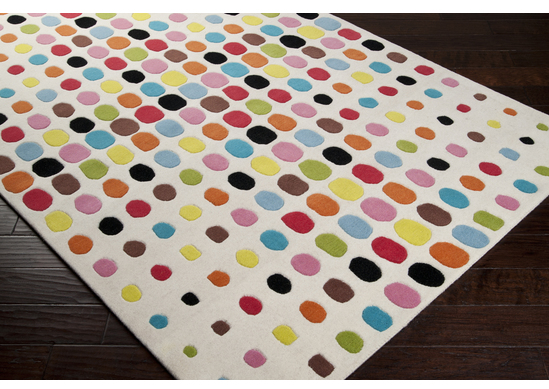 Area Rug with Bright Circles