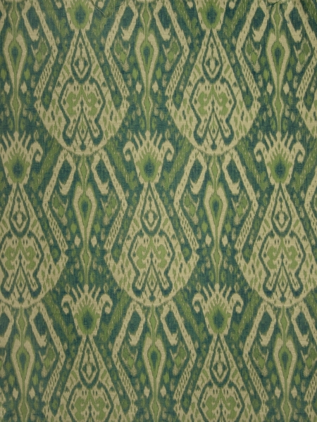Emerald and Monaco Blue Ikat pattern