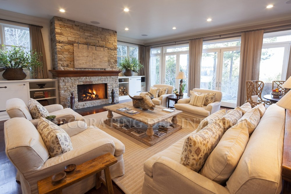 Lake Tahoe Cabin Interior Design Elegant Living Room