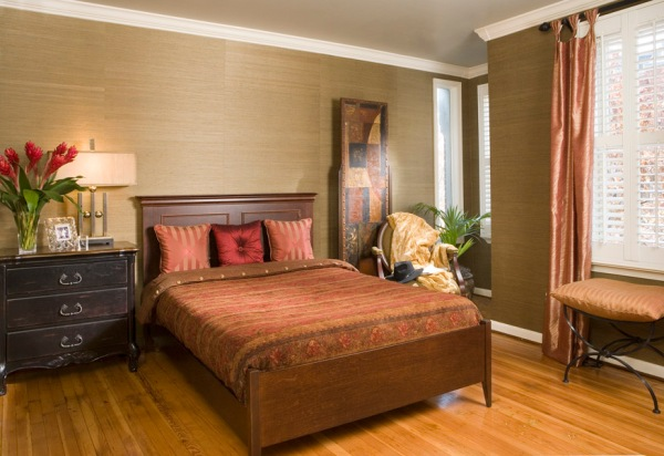 custom bedding, red and gold bedroom interior design,