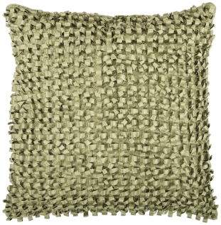Green Ribbon Textured Accent Pillow