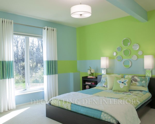 Contemporary Bedroom with Blue and Green Color Scheme