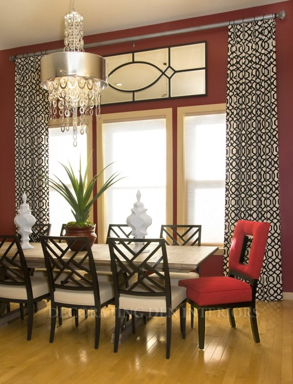 Contemporary Dining Room with Red and Black Accents