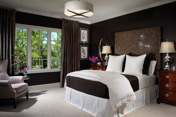 Contemporary Guest Bedroom in Dark Tones and Metallic Accents